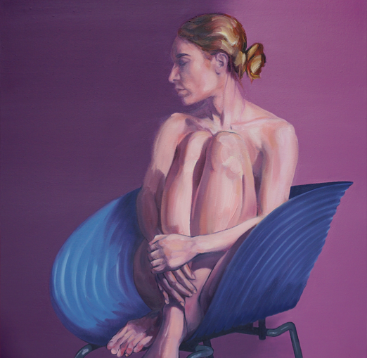 Woman on a blue chair by artist Richard Tomlin